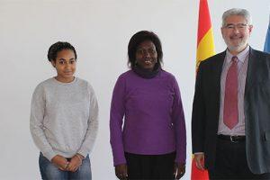 Priscillia Lois Mourou, Eugenie Eyeang and Roberto Ruiz today at UNEATLANTICO | Gabon